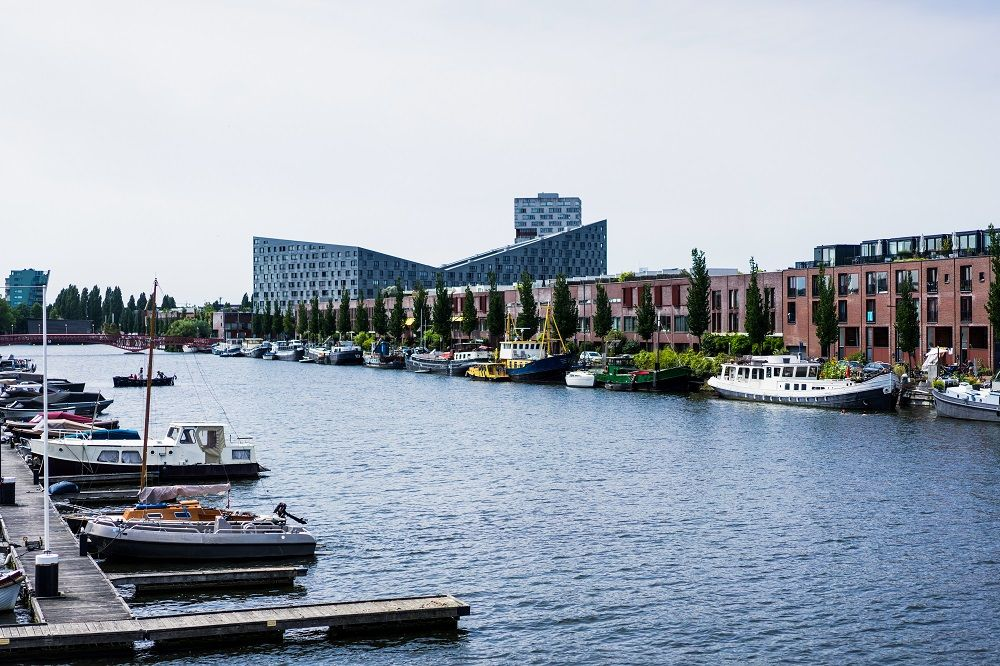 City port with yachts Amsterdam